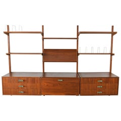 Walnut and Brass Shelving Wall Unit by Gerald McCabe, circa 1970