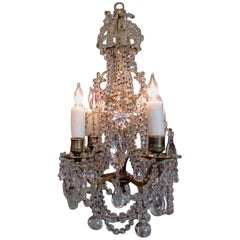 Diminutive Early 19th Century French Regence Crystal and Bronze Chandelier