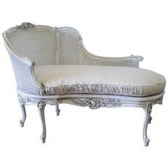 19th Century Louis XV Style Painted and Cane Recamier