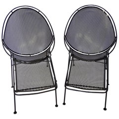 Pair of Salterini Wrought Iron High Back Lounge Chairs