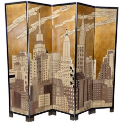 Six-Panel New York Skyline Folding Screen