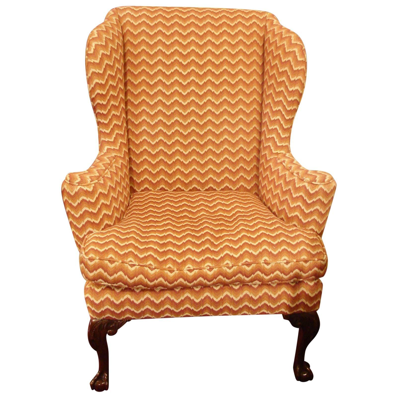 George III Style Mahogany Upholstered Wing Back Armchair