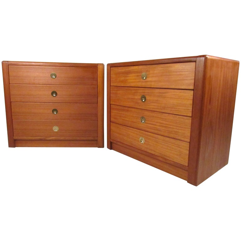 Pair of Contemporary Modern Teak Captain Style Dressers by D-Scan