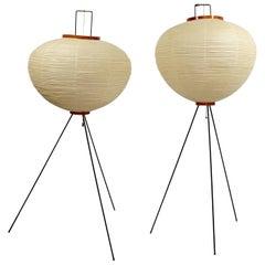 Mid-Century Modern Original Vintage Noguchi Akari 10A Pair of Floor Lamp, 1950s