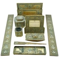 Tiffany Studios New York Abalone Nine-Piece Bronze Desk Set, circa 1910