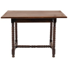 Antique Small Country French Table with 'Bobbin Turned' Legs, circa 1830