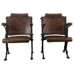 Early Cast Iron and Wood Theater or Opera Chairs A.H. Andrews, circa 1886