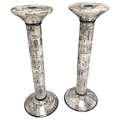 Italian 1960s Black and White Pair of Candlesticks