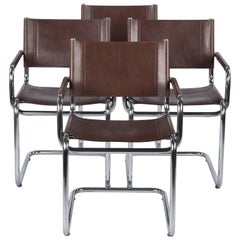 Set of Four Tubular Chrome and Leather Armchairs, 1960s