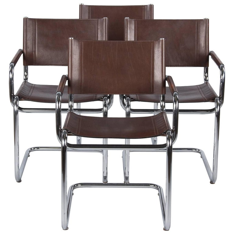 Set of Four Tubular Chrome and Leather Armchairs, 1960s