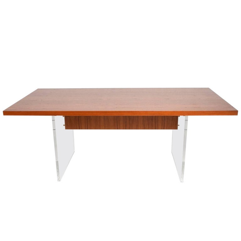 Mid-Century Danish Modern Teak and Lucite Dining Table