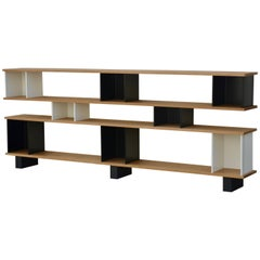 Low Oak, Black and White 'Horizontale' Shelving Unit by Design Frères