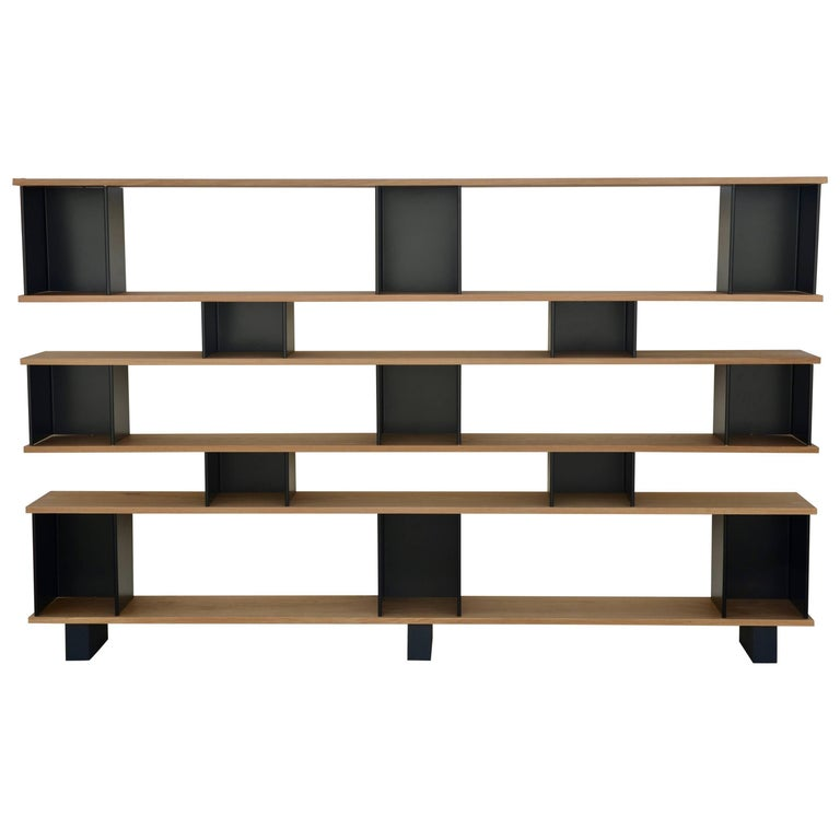 Polished Oak and Matte Black 'Horizontal' Shelving Unit by Design Frères