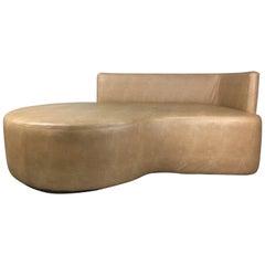 Kagan Style Saddle Calfskin Leather Sofa