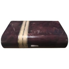 Huge Enrique Garcel Amethyst Goatskin and Silver Inlaid Bone Table Box