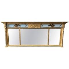 American Gold Gilt Three-Panel Overmantel Mirror, circa 1820