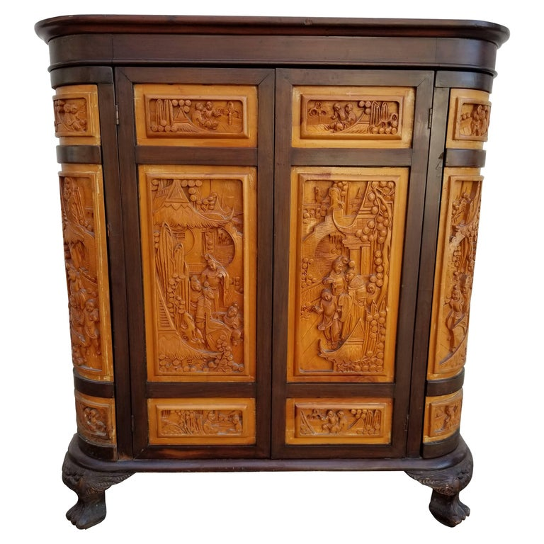 Carved chinese dry bar for sale at 1stdibs for Home dry bar furniture