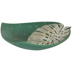 Large Exotic Tropical Design Silver Overlay Bowl by Emilia Castillo