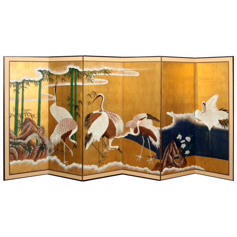 Hand-Painted Japanese Folding Screen Byobu Cranes Painting, Watercolor, Goldleaf 1