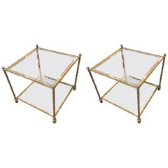 Pair of Brass and Glass Two-Tiered End Tables Attributed to Maison Jansen