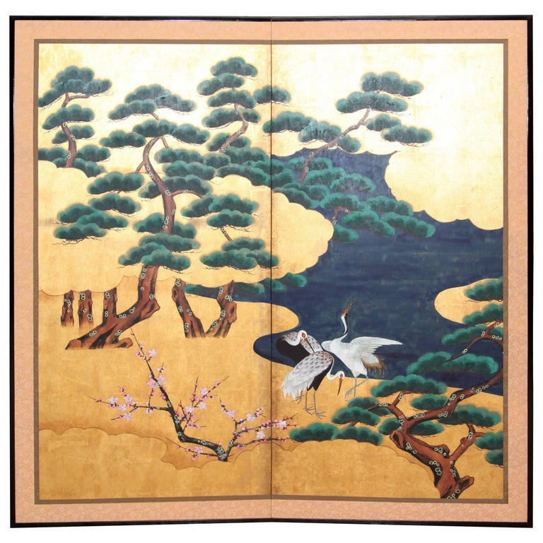 Hand-Painted Japanese Folding Screen 'Byobu' Cranes by the River, Gold Leaf