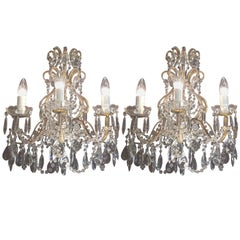 Pair of Mid-Century Italian Beaded Crystal Gilt Metal Three- Light Sconces