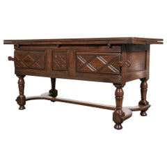 18th Century Solid Cherry Country French Draw Leaf Work or Pantry Table