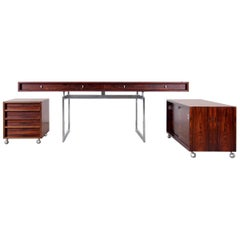 Bodil Kjaer, Rosewood Desk with Chest and Sideboard, Denmark, circa 1959