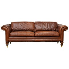 Vintage High Quality Colonial Style Ralph Lauren Leather Sofa with Rolled Arms