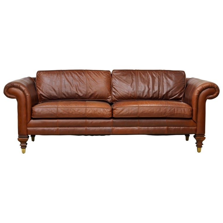 Vintage High Quality Colonial Style Ralph Lauren Leather Sofa with Rolled Arms 1