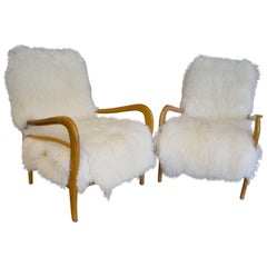 Beautiful Pair of Reupholstered Armchairs Attributed to Gio Ponti, circa 1960