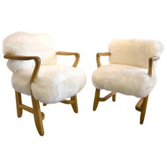 Beautiful Pair of Guillerme et Chambron Pair of Armchairs, circa 1960