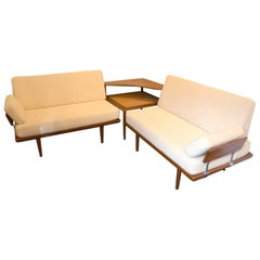 Huge Peter Hvidt Set of Table and Banquette Daybed, circa 1960