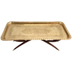 Mid-Century Moroccan Style Etched Brass and Mahogany Spider Table