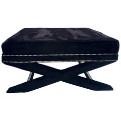 Contemporary Faux Mink Fur & Chrome Stud X-Base Ottoman Coffee Table