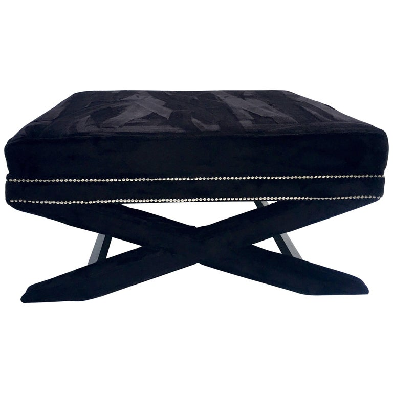 Contemporary Faux Mink Fur X-Base Ottoman Coffee Table