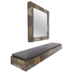 Paul Evans Patchwork Wall-Mounted Mirror and Console