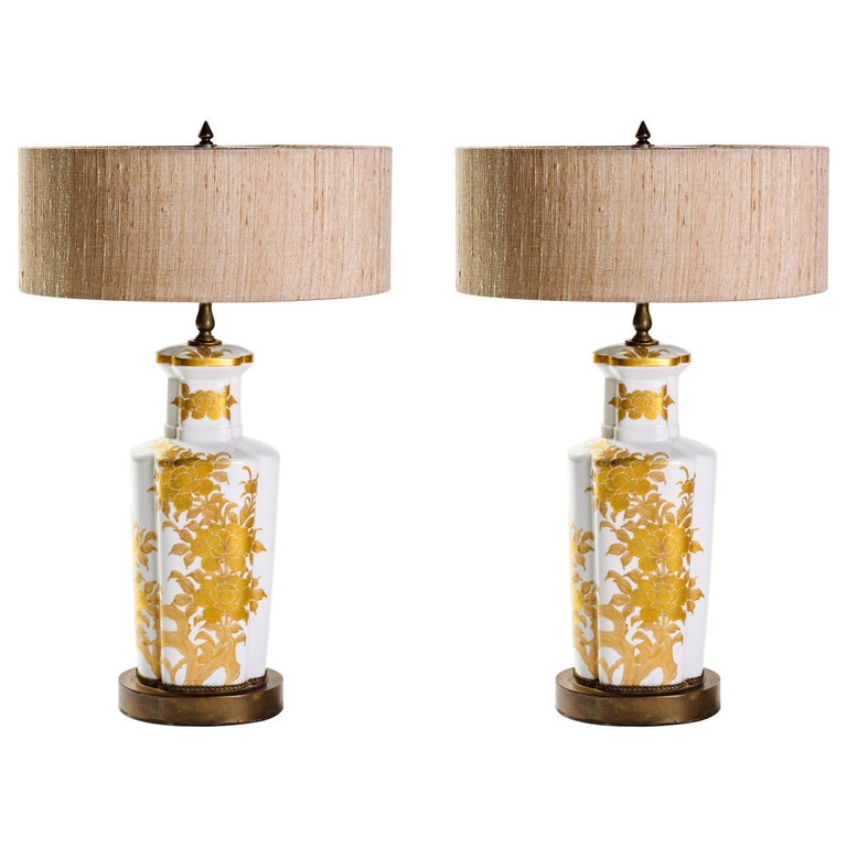Pair of Hollywood Regency Porcelain Lamps by Marbro For Sale