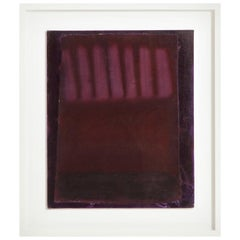 Adja Yunkers Painting Acrylic on Canvas Purple Plum Abstract Signed, USA, 1980s