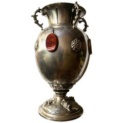 Italian Silver Vase with Agate Stones