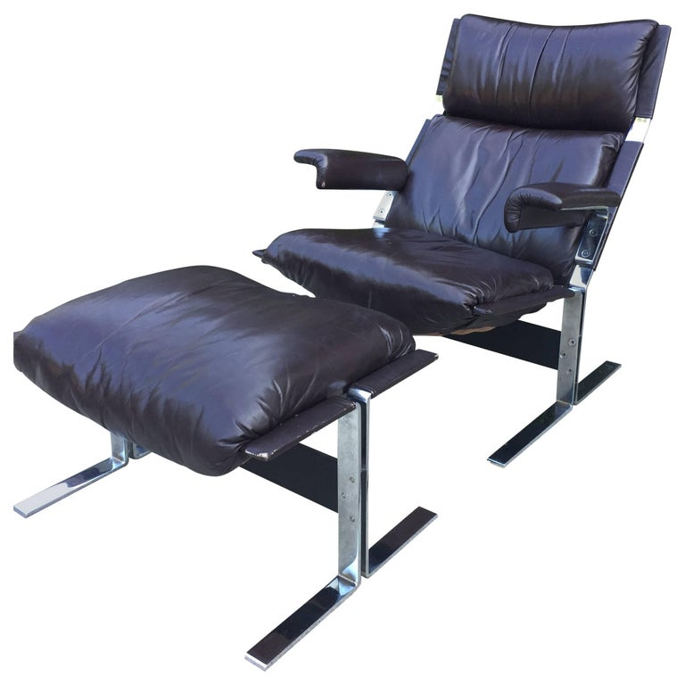 Saporiti Lounge Chair and Ottoman For Sale