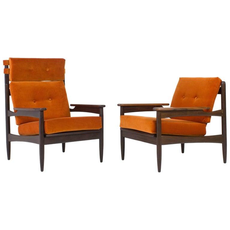 Striking Danish Organic Pair of Mid-Century Modern Lounge Chairs by LIFA, 1960s