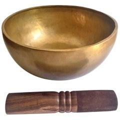 Singing Bowl, Nepalese Handmade Singing Bowl with Mahogany and Leather Striker