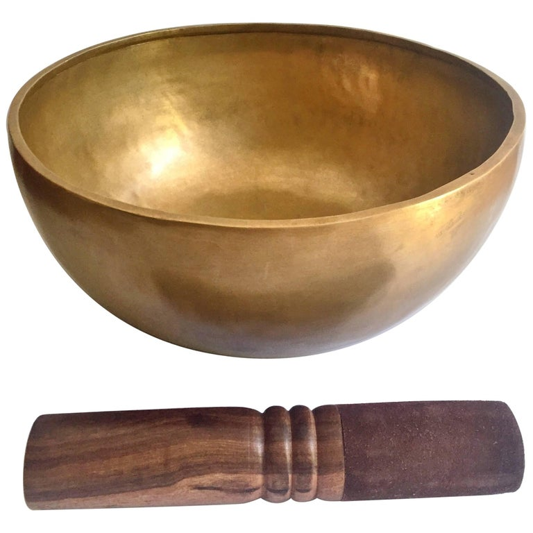 Singing Bowl, Nepalese Handmade Singing Bowl with Mahogany and Leather Striker For Sale