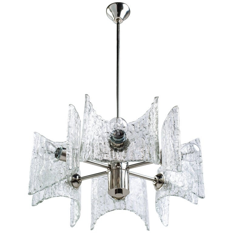German Mid-Century Modern Ice Glass Chandelier by Kalmar For Sale