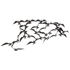 Vintage Modern Metal Wall Art Birds in Flight
