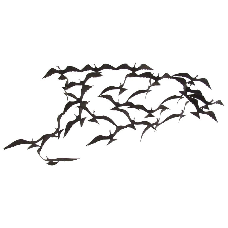 Vintage Modern Metal Wall Art Birds in Flight For Sale at 1stdibs