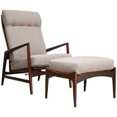Reclining Lounge Chair and Ottoman by Ib Kofod-Larsen for Selig