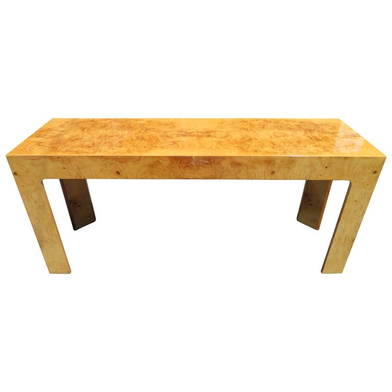 Fantastic Style of Milo Baughman Burled Olivewood Console Table, Mid-Century