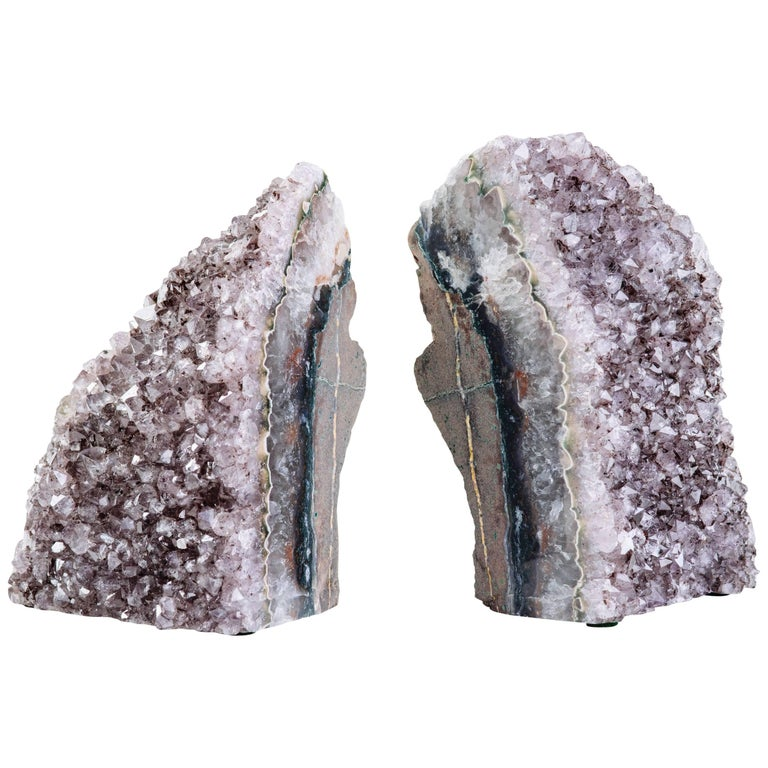 Pair of Organic Amethyst Crystal and Geode Bookends 1